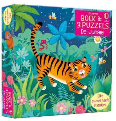 Boek & 3 Puzzels De jungle