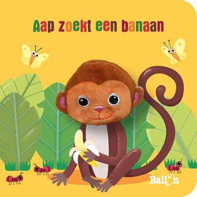Kartonboek met vingerpopje: Aapje zoekt een banaan